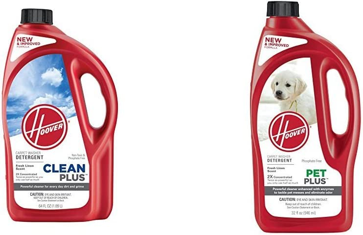 Hoover CLEANPLUS 2X 64oz Carpet Cleaner and Deodorizer, AH30330 and Hoover 2X PetPlus Pet Stain & Odor Remover 32 oz, AH30325 Bundle