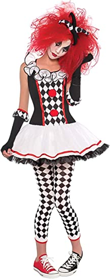 Ladies Jester Harlequin Costume Evil Clown Jesterina Fancy Dress Halloween Scary