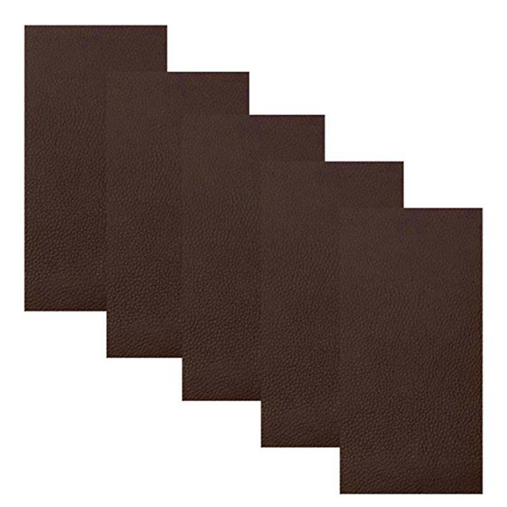 Leather Repair Patch,5 Pieces Leather Adhesive Patches for Couch Furniture Sofas Car Seats Handbags Jackets (Dark Brown)