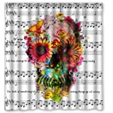 "Custom Music Symbols & Cool Floral Sugar Skull Waterproof Bathroom Fabric Shower Curtain,Bathroom decor 66"" x 72"""