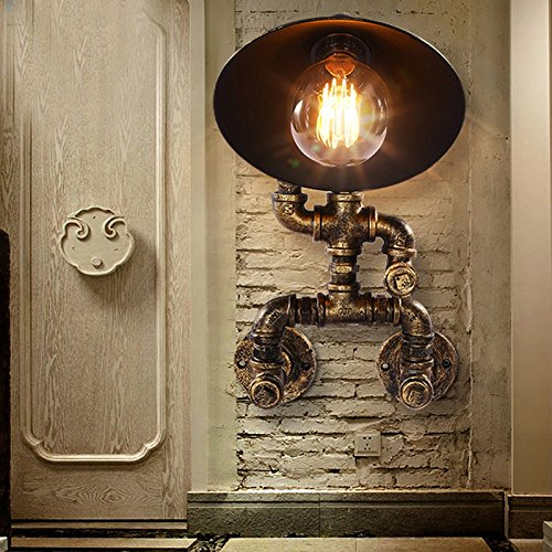 Vinteen Water Pipe Wall Sconce Industrial Retro Iron Art Robot Wall Light Antique Steam Punk Aged Copper Metal Pipe Wall Lamp Shade For Birthday Gift Bedroom Corridor Foyer Wall Lantern