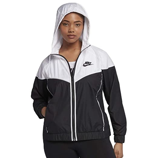 61ffc4f0a Amazon.com: NIKE Sportswear Windrunner Women's Jacket (Plus Size)  (Black/White, 1X): Sports & Outdoors