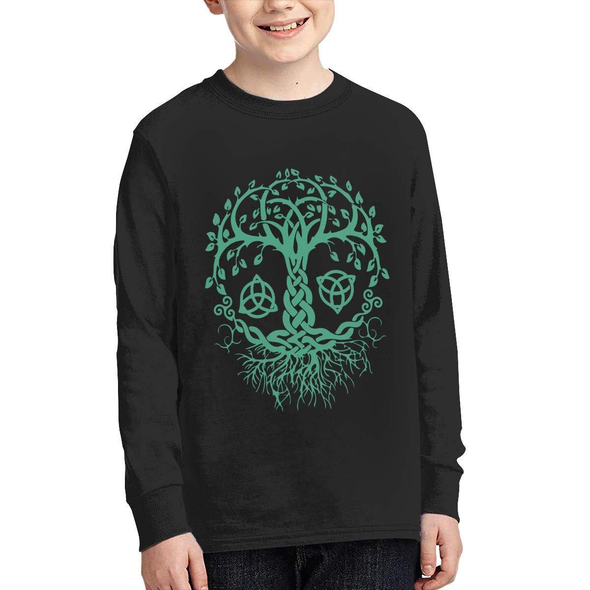 Teenagers Teen Girl Celtic Tree of Life Printed Long Sleeve 100/% Cotton Tee Shirt