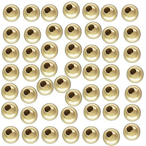2mm 1/20 14 Karat Gold Filled Smooth Round Bead, 50 Pieces