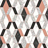 Geometric Marble Wallpaper Copper Rose / Black Muriva L63805