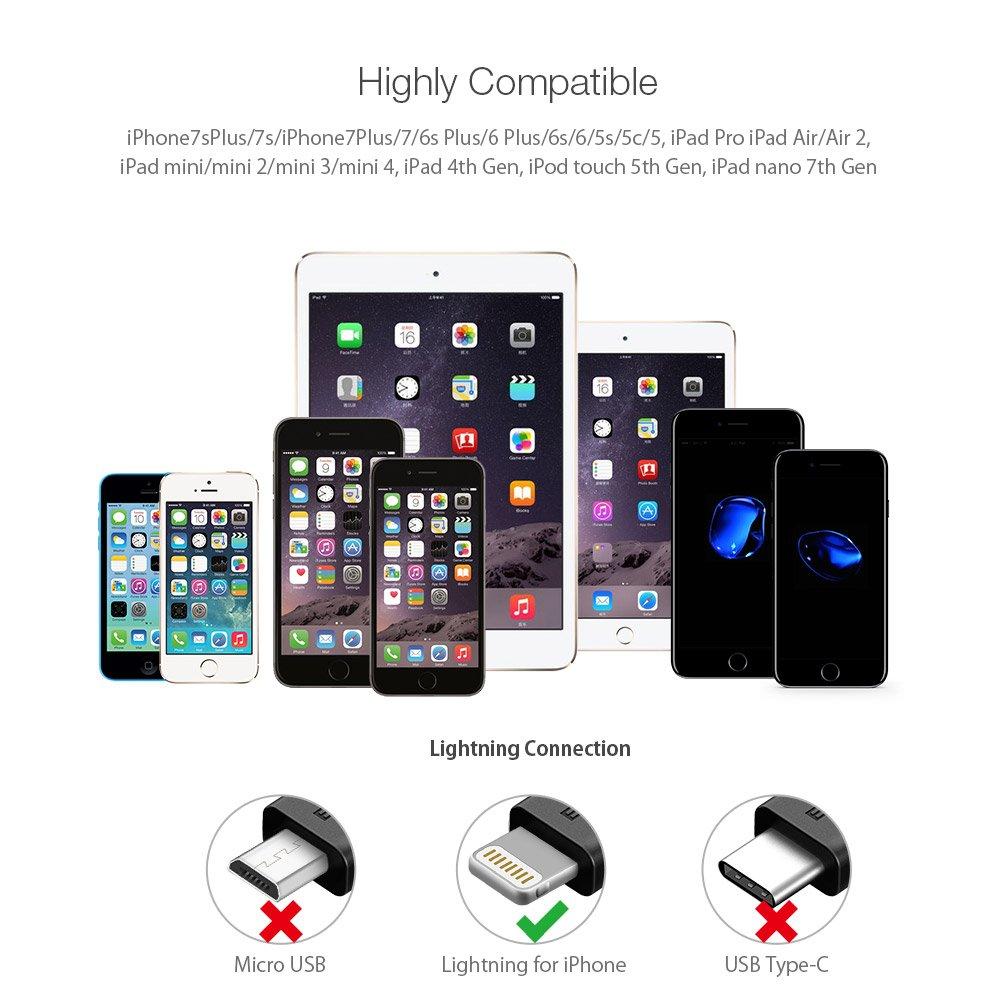 Lightning Charger Apple MFI Certified, BlitzWolf 1m Braided Lightning Cable Nylon Apple Charger with magic tape strap for iPhone 6S Plus 6 Plus 7 Plus 5 SE, iPad Pro Air, iPad Mini, iPod(Black & Grey)
