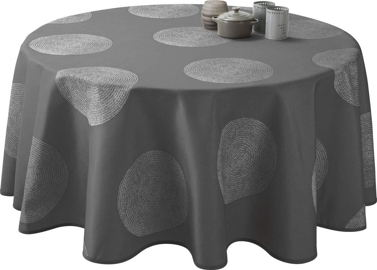 taille Nappe anti-taches Cercles gris fonc/é Ronde diam/ètre 160 cm