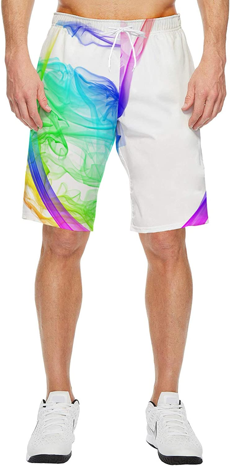 Mens Lightweight Slim Fit Quick Dry Beach Shorts Colorful Dance Elements Surf Beach Pants with Mesh Lining