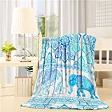 Luxury Flannel Throw Blanket Africa Bohemian Elephant Flower 60''x80'' Lightweight All-Season Cozy Sofa Bed/Couch Throw for Beds Office Lap