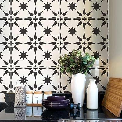 Jewel Tile Stencil - Cement Tile Stencils - DIY Geometric Tiles - Reusable Stencils for Home Decor