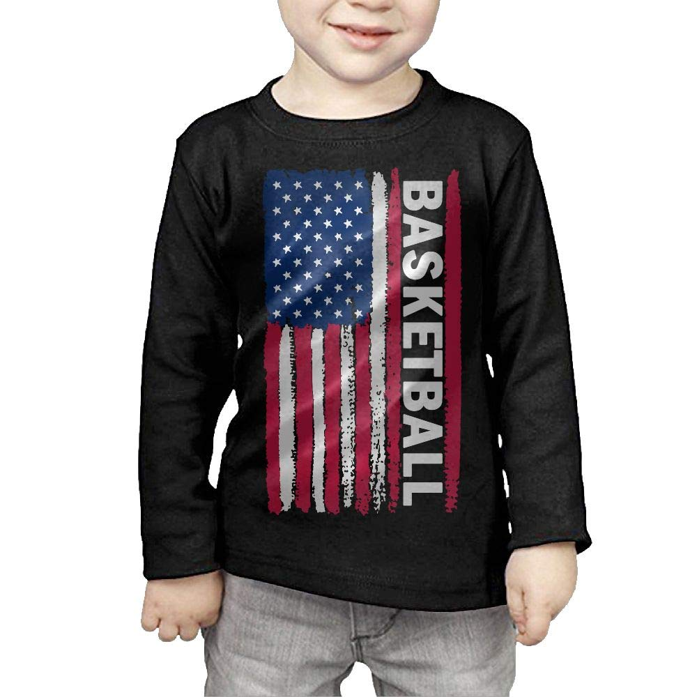 CERTONGCXTS Little Girls USA Flag Basketball ComfortSoft Long Sleeve T-Shirt