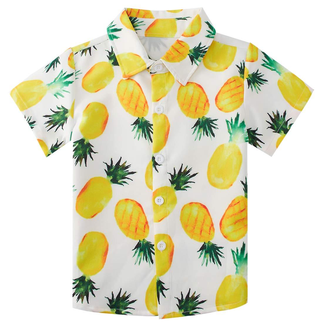 Fanient Little Big Boys Hawaiian Shirt Pineapple Slim-Fit Short Sleeve Button Down Shirts Cool Dress Shirt Size 5-6T