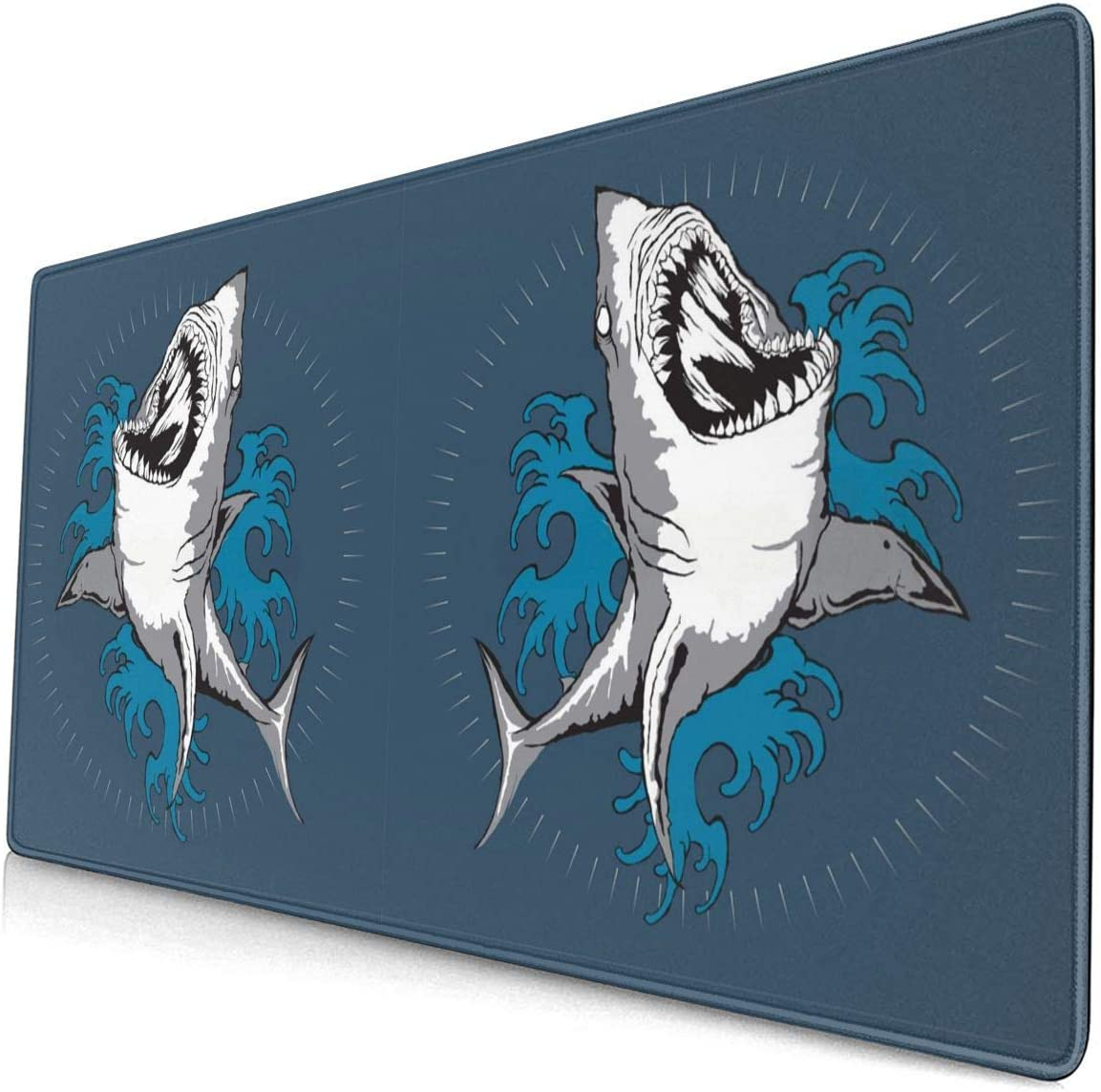 Shark Tattoo Art Mouse Pads for Computers Laptop Gaming Office & Home,Durable, Comfortable and Smooth Large-Size Gaming Mouse Pad Mouse Mat(15.8 X 29.5 Inches)
