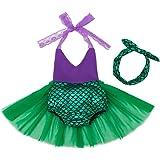 Moomintroll Little Girls Swimmable Mermaid Princess Bikini Swim Bathing Suit with Headband