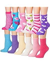Women's 12-Pairs Soft Fuzzy Anti-Skid Crew Socks