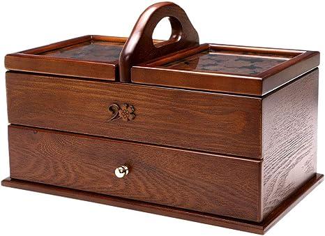 WUHX Joyero de Madera Tallado Cosmético Cofres de Almacenamiento Caja de Costura para el hogar con tocador de Tapa y Cajón Rectangular Caja Grande 35 * 20 * 22.5CM,B: Amazon.es: Deportes y