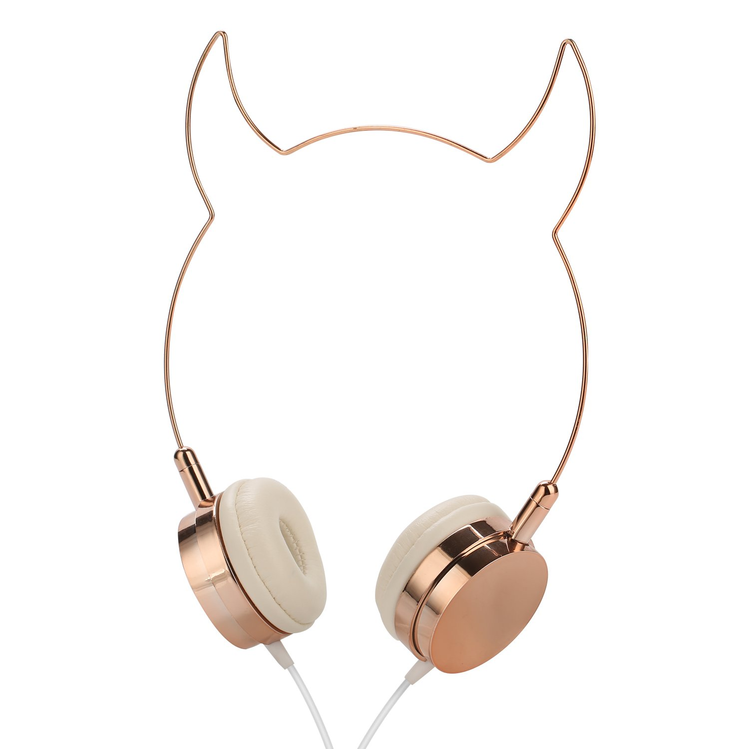 SOMOTOR Wired Headphone, Cool Devil Ox Ear Cute Headphone On Ear Rose Gold