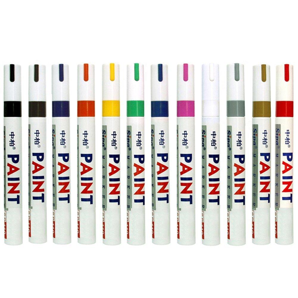 Fine Paint Oil Based Art Marker Pen Permanent Chalk Pens Boxed for Metal Rubber Glass Waterproof 12 Pack Colors Super Junior