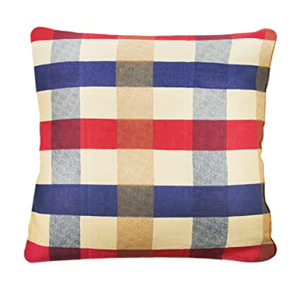 Casa Cama Cojín Pure algodón cuadros funda de almohada manta funda tira Grid sofá cojín caso