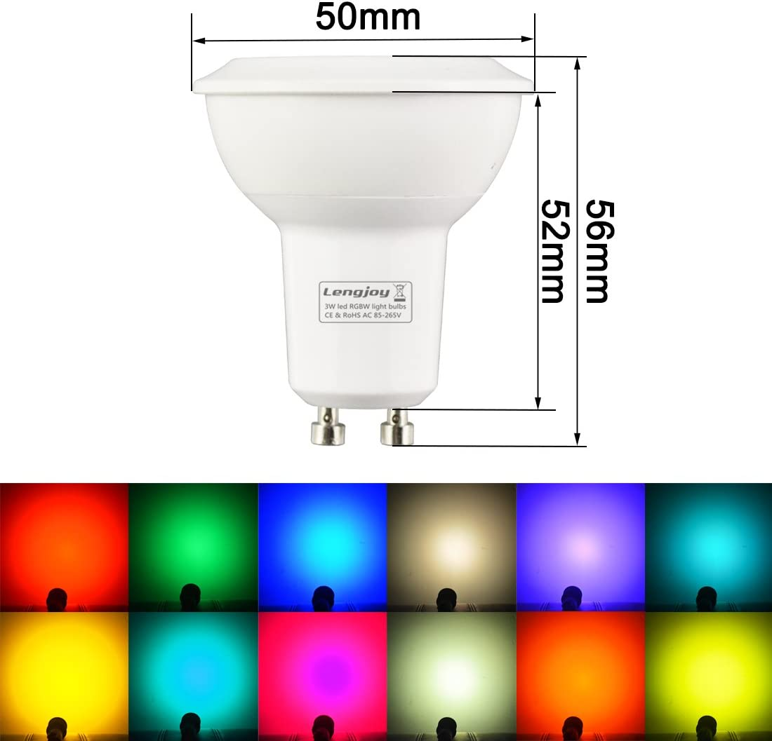 RGB 3000K 4Pack LED RGB Ceiling Light Panel Colorful Lighting Dimmable GU10 Bulbs 3W 6000K with Remote Control