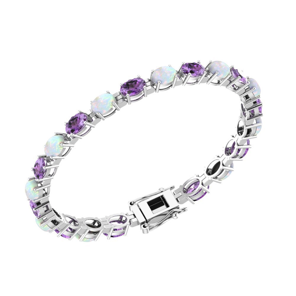 Solid Sterling Silver 6x4mm Oval Cut 6.5CTW Lab-grown Opal and Amethyst Brilliant Sparkle Tennis Bracelet for Women, Box Chain with Safety