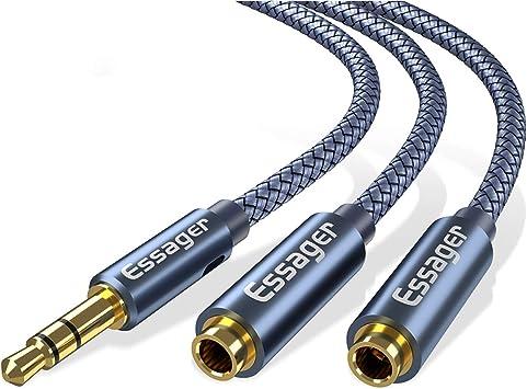 Essager - Cable de Audio Auxiliar para Auriculares (Conector Macho ...