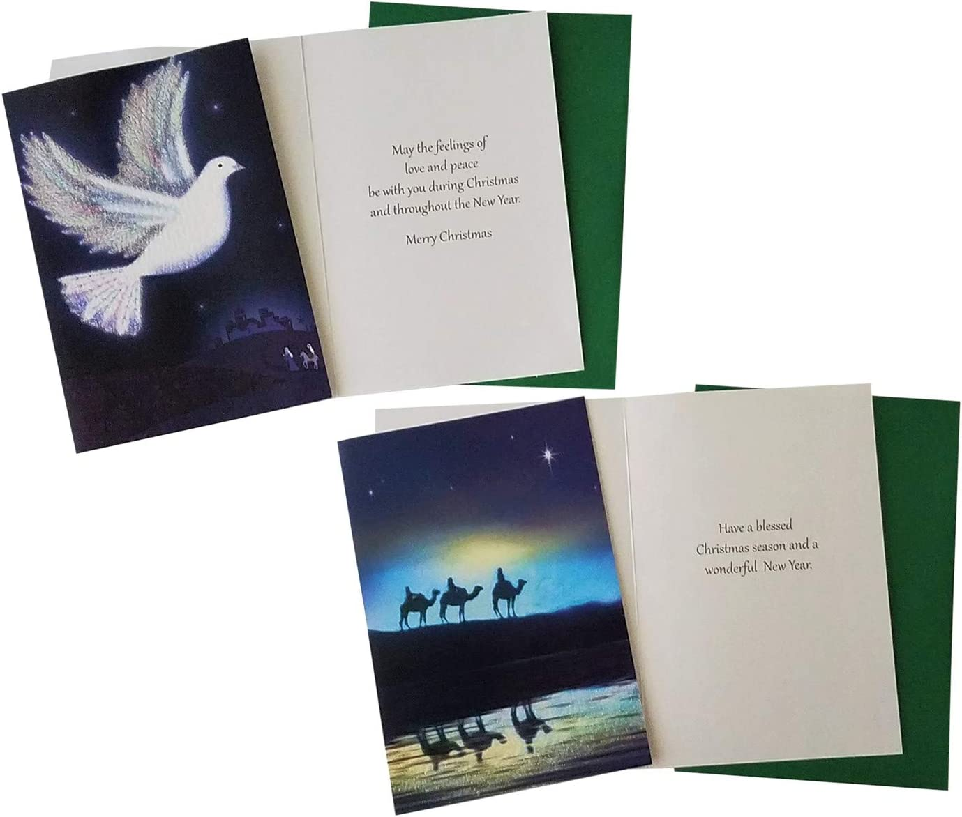 Religious 2 40 Religious Christmas Holiday Boxed Greeting Cards with Envelopes Sentiment and KJV Scripture Inside 5x7 Inch Cards 4 Xmas Designs in Box Sets with Foil Stamp or Glitter