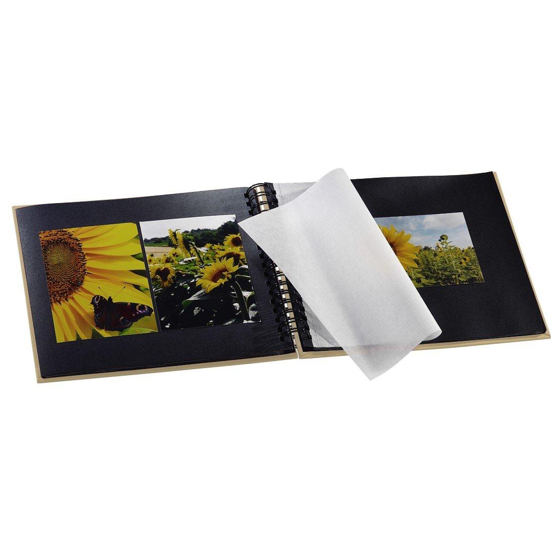 28 x 24/cm Hama Fine Art azul /Álbum de fotos con compartimento para insertar foto 50 p/áginas negras /álbum con espiral 25 hojas