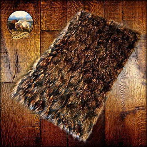 Shag Area Rug - Brown Wolverine Wolf - Luxury Fur Carpet - Soft Faux Fur Sheepskin - Rectangle Accent Rug - Fur Accents (5'x7')