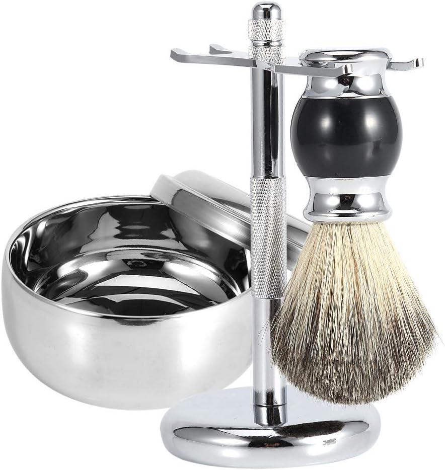 Cepillo de barba, soporte de soporte de herramienta de afeitar para hombres profesionales + cepillo de pelo de tejones falsos + kit de tazón de taza de jabón de aleación Herramienta de aseo para el cu