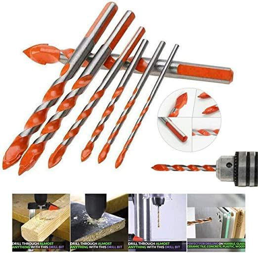 4 pcs Ultimate Drill Bits Triangular-Overlord Handle Multifunctional Drill Bits Ceramic Wall Glass Punching Hole Working Set