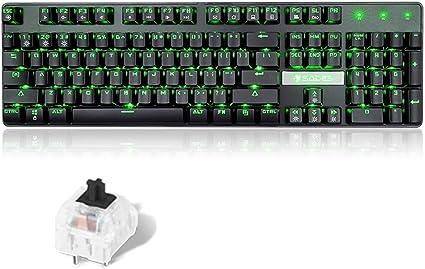 OFNMD Teclado mecánico para Juegos, USB con Cable Interruptor ...