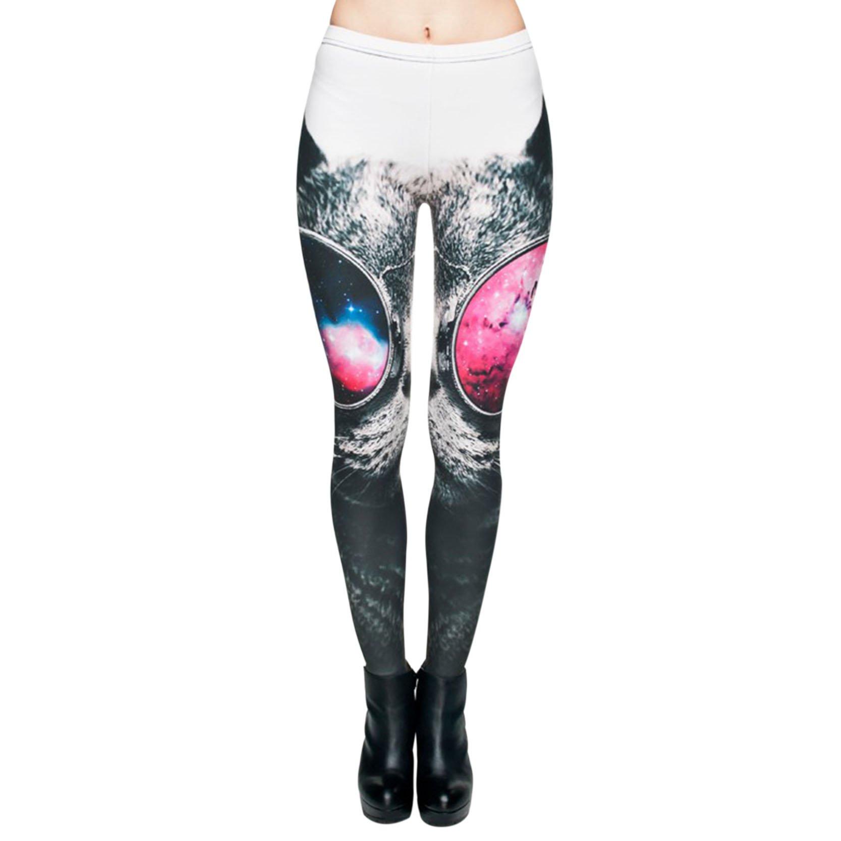 Sunglasses Cat Leggings Cool Printed Leggings Sexy Slim Women Pants