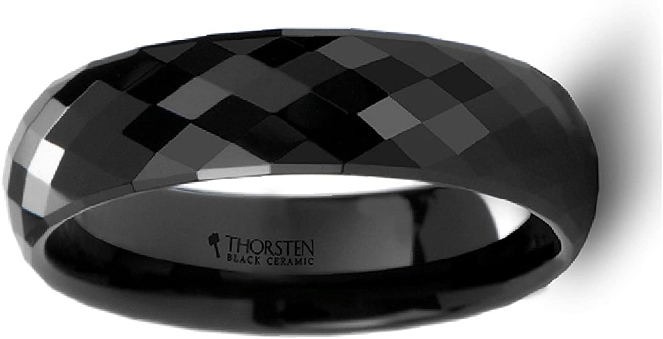 Thorsten Barracuda Beveled Edge Black Ceramic Ring with Blue and Purple Changing Color Inlay 6mm Wide Wedding Band from Roy Rose Jewelry