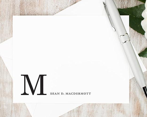 amazon com corner monogram personalized flat stationery set
