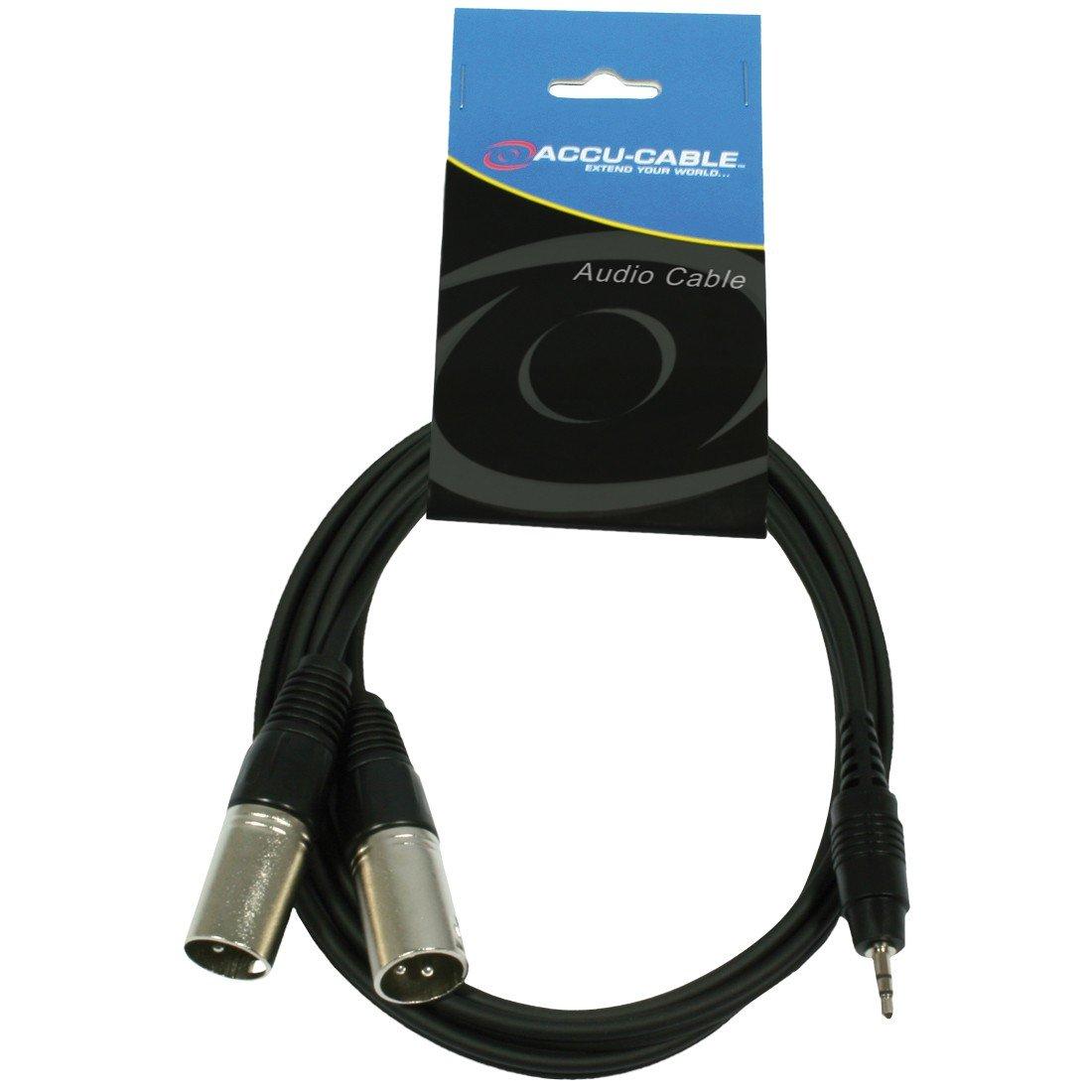 3.5 mm, macho, 1.5 m Accu Cable AC-J3S-2XM Cable para altavoz XLR a mini jack TS negro