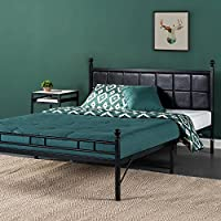Zinus Metal Platform Bed / Bed Frame with Faux Leather Square Stitched Upholstered Headboard, Queen