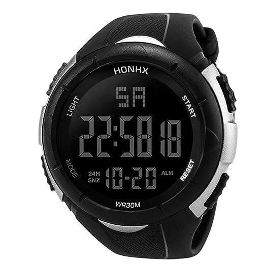 Reloj Deportivo Hombres, Relojes Deportivos, Reloj electrónico Digital, 50 m, Impermeable, Reloj de Pulsera Militar al Aire Libre - Plata: Amazon.es: ...