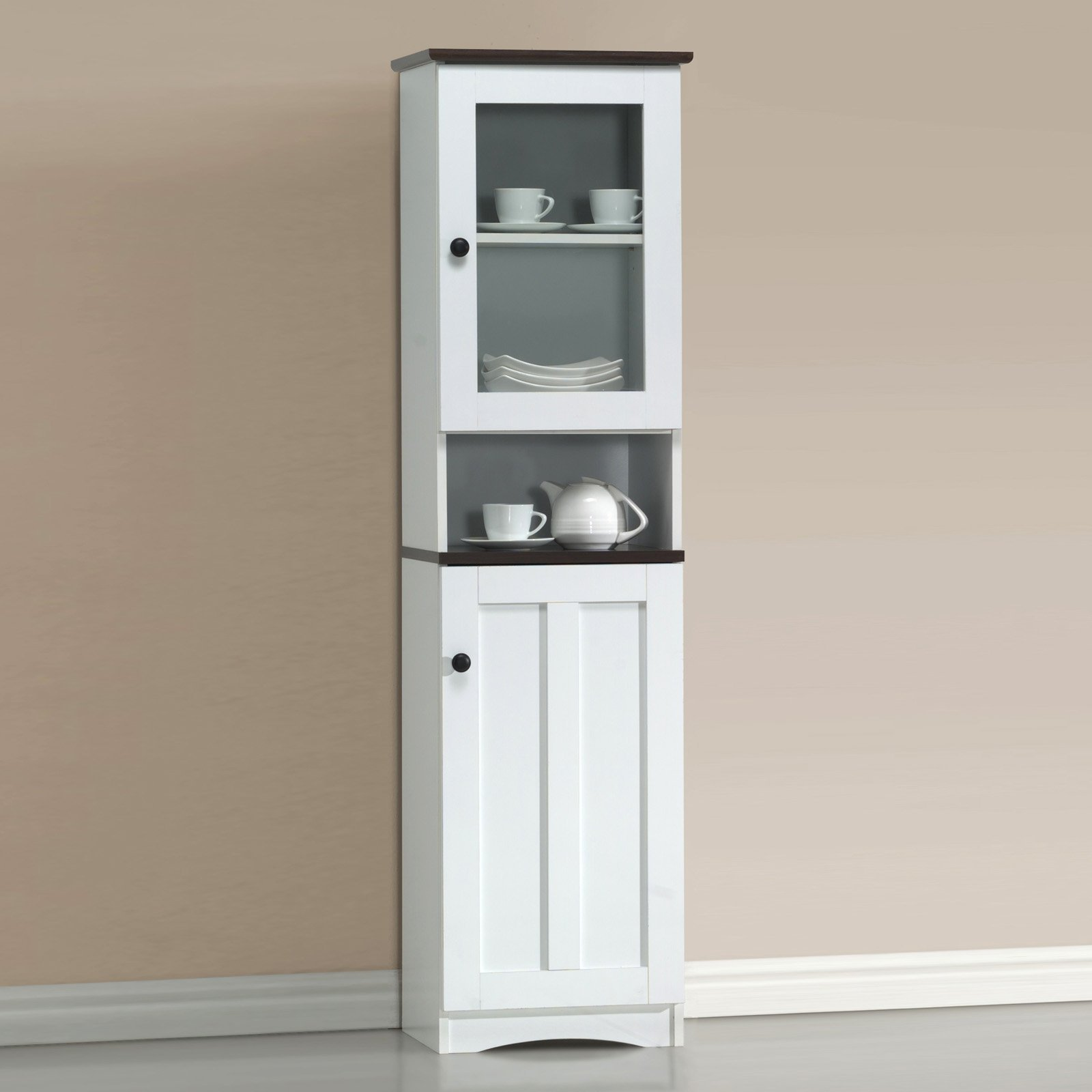 China Cabinet, Durable and Sturdy Kitchen Furniture, Charming Display Space and Storage, 4 Shelfs One of Them Open, Made of Wood and Glass Door, Dark Brown Top and White + Expert Guide from Love US