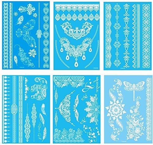 6 sheets Womens White Henna Tattoo sticker Temporary Lace Tattoos G/1W
