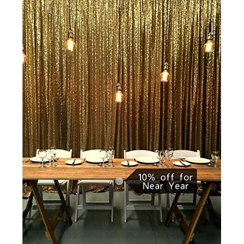 Gold Shimmer Sequin Fabric Photography Backdrop (10FTX10FT)