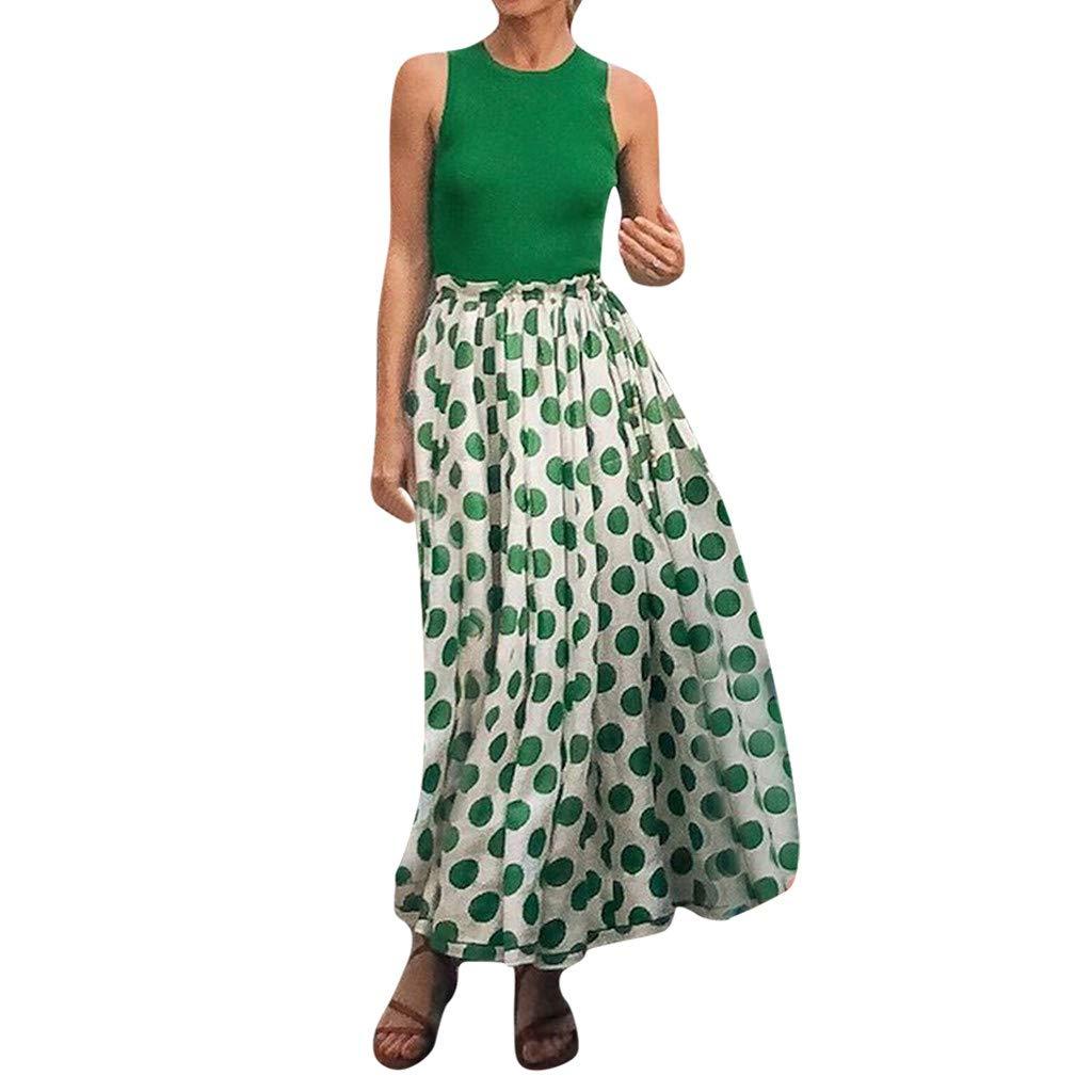 Women Sexy Dress Casual Boho Dot Print Sleeveless Off Shoulder Club Party Long Dress (XL) by OneDaySALE