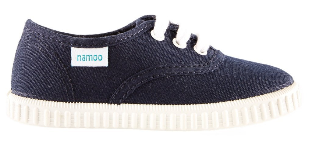 Namoo Kids Lace Sneaker for Boys and Girls, Cotton and Rubber Sole, Baby / Toddler / Kid Shoe (Navy)