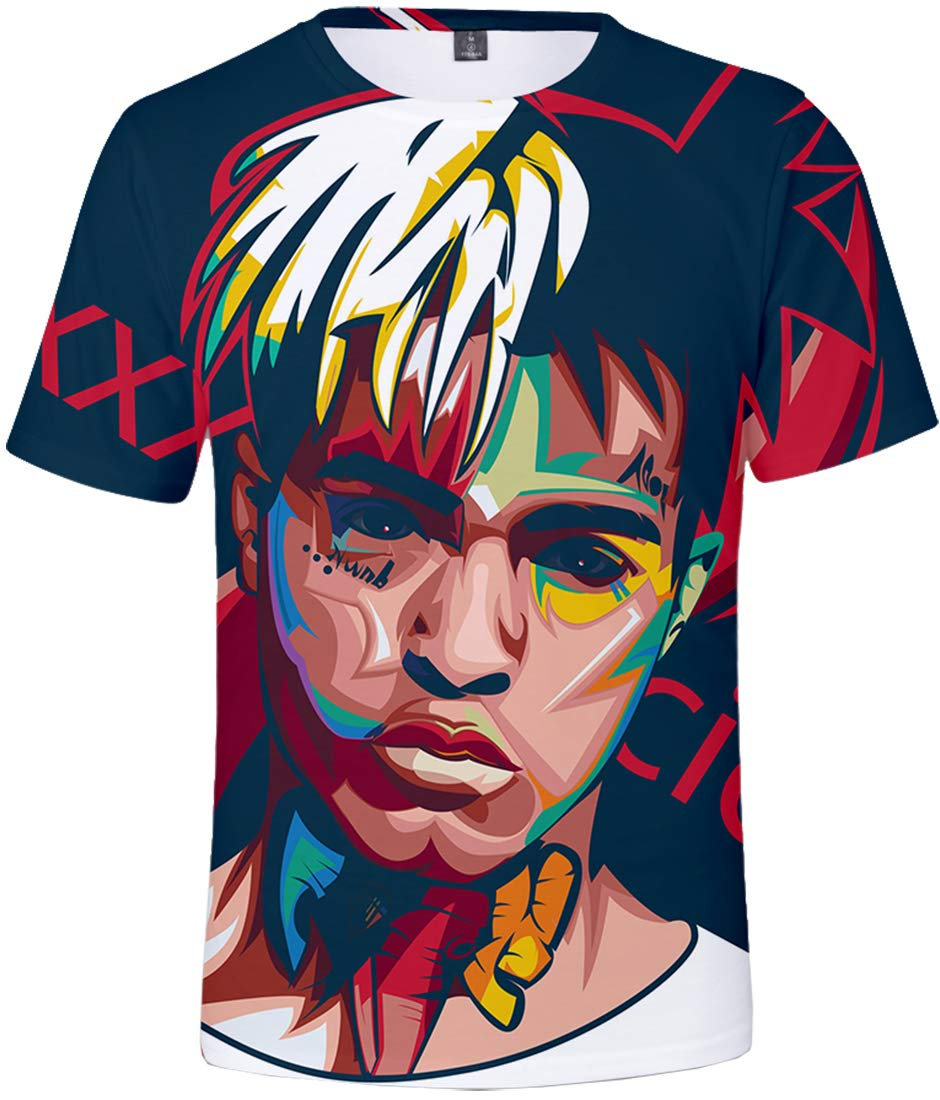7805e7260 Bettydom Tee Shirts with Rapper RIP Xxxtentacion Novelty Shirt 3D Printed  Summer Top Tees(XXS,Red Outline)