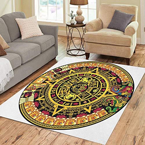 Semtomn Area Rug 3' X 5' Inca Aztec Calendar Color Maya Mexican Mexico Culture Cartoon Home Decor Collection Floor Rugs Carpet for Living Room Bedroom Dining Room ()