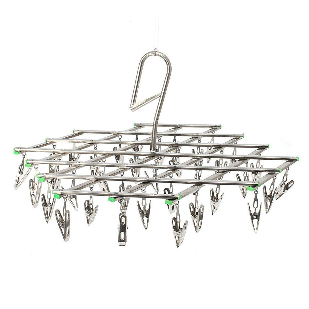 Sock Dryer Stainless Steel Collapsible Hanging Socks Rack Laundry Clothesline Hanger Drying Rack Clothespin Windproof Hook Hook/Socks/Underwear/Clothes/Towel 未知品牌