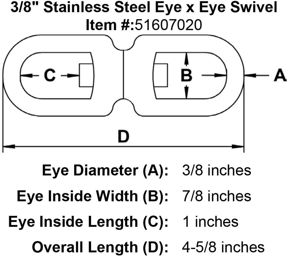 3//8 Stainless Steel Eye x Eye Swivel