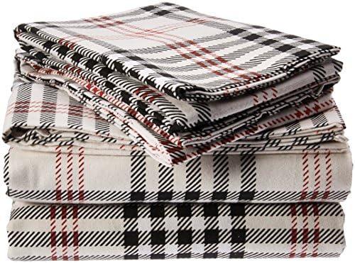 Tribeca Living 200 Gsm Plaid Printed Deep Pocket Flannel Sheet Set Queen Amazon Com Au Home