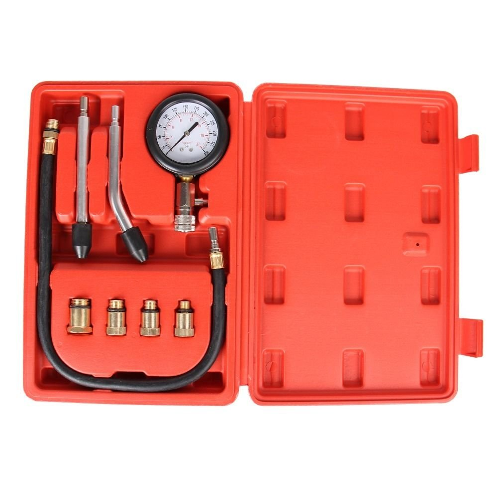 Bang4buck 0-300 PSI 8 Pieces Engine Compression Gauge Set Kit Cylinder Dianostic Tester with Case Automotive Tool Set (Professional Gas Compression Tester) by Professional Auto Tools (Image #2)