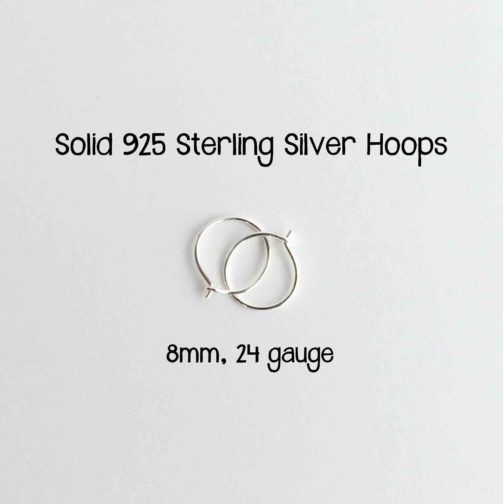 Mini Sterling Silver Hoops 8mm 24 Gauge (Extra Thin Hoops)